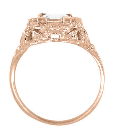 Princess Cut White Topaz Art Nouveau Ring in 14 Karat Rose Gold - Item: R615RWT - Image: 2