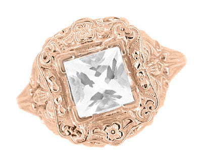 Princess Cut White Topaz Art Nouveau Ring in 14 Karat Rose Gold - Item: R615RWT - Image: 3