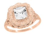 Princess Cut White Topaz Art Nouveau Ring in 14 Karat Rose Gold