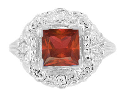 Art Nouveau Square Garnet Ring in 14K White Gold - 1910 Vintage Design - Item: R615WG - Image: 2