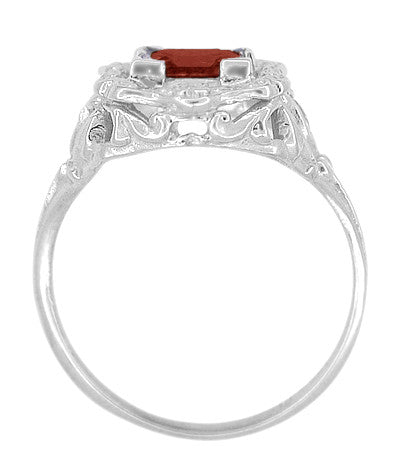 Art Nouveau Square Garnet Ring in 14K White Gold - 1910 Vintage Design - Item: R615WG - Image: 4