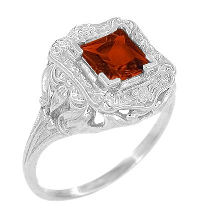 Art Nouveau Square Garnet Ring in 14K White Gold - 1910 Vintage Design - Item: R615WG - Image: 1