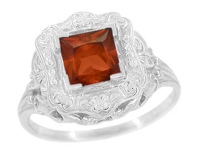 Art Nouveau Square Garnet Ring in 14K White Gold - 1910 Vintage Design
