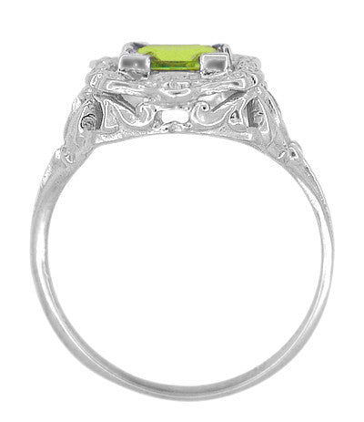 Princess Cut Peridot Art Nouveau Ring in 14 Karat White Gold - Item: R615WPER - Image: 3