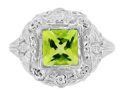 Princess Cut Peridot Art Nouveau Ring in 14 Karat White Gold - Item: R615WPER - Image: 4