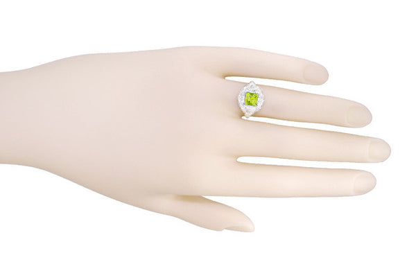 Princess Cut Peridot Art Nouveau Ring in 14 Karat White Gold - Item: R615WPER - Image: 5