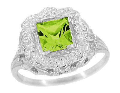 Princess Cut Peridot Art Nouveau Ring in 14 Karat White Gold - Item: R615WPER - Image: 1