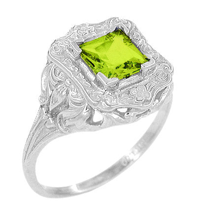 Princess Cut Peridot Art Nouveau Ring in 14 Karat White Gold