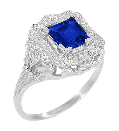 Art Nouveau 1.25 Carat Princess Cut Square Sapphire Ring in 14K White Gold | 6mm - Item: R615WS - Image: 2