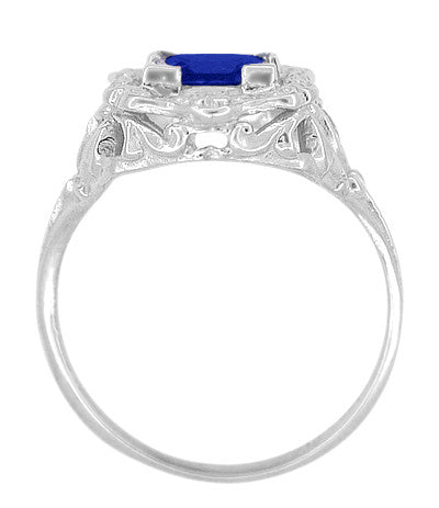 Art Nouveau 1.25 Carat Princess Cut Square Sapphire Ring in 14K White Gold | 6mm - Item: R615WS - Image: 4