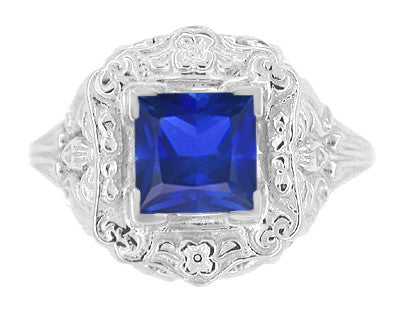Art Nouveau 1.25 Carat Princess Cut Square Sapphire Ring in 14K White Gold | 6mm - Item: R615WS - Image: 1