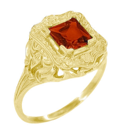 Princess Cut Garnet Art Nouveau Ring in 14 Karat Yellow Gold