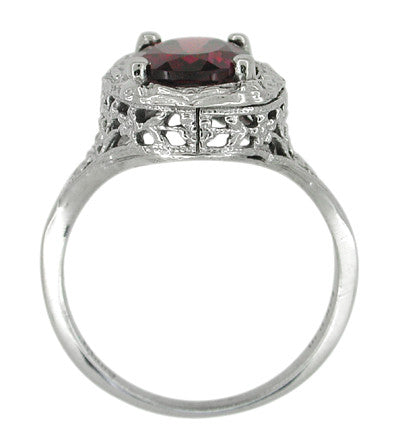 Edwardian Rhodolite Garnet Ring in 14 Karat White Gold - Item: R616 - Image: 3