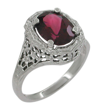 Edwardian Rhodolite Garnet Ring in 14 Karat White Gold - Item: R616 - Image: 1