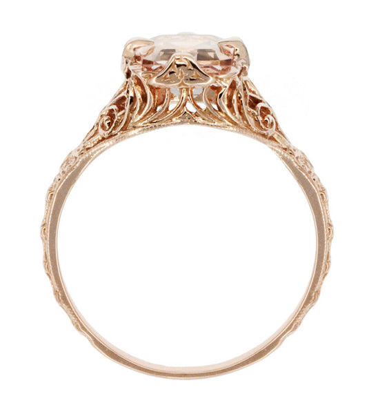 Edwardian Emerald Cut Morganite Engagement Ring in 14K Rose Gold Filigree - Item: R617RM - Image: 3