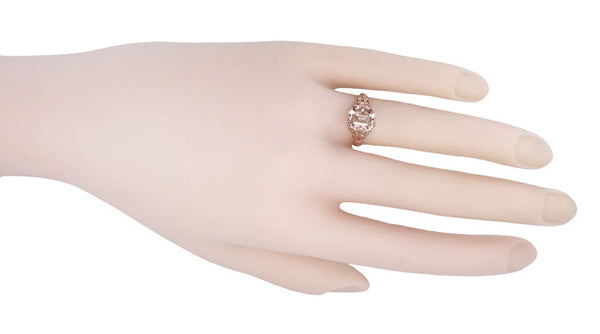 Edwardian Emerald Cut Morganite Engagement Ring in 14K Rose Gold Filigree - Item: R617RM - Image: 4