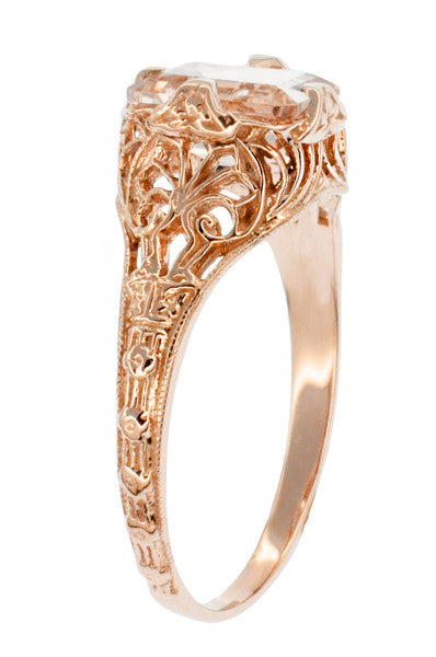 Edwardian Emerald Cut Morganite Engagement Ring in 14K Rose Gold Filigree - Item: R617RM - Image: 1