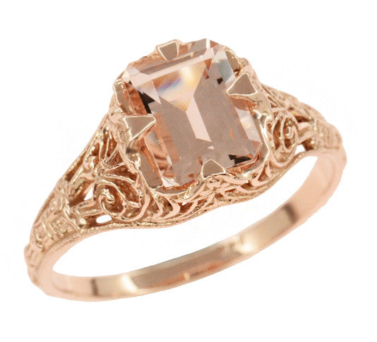 Edwardian Emerald Cut Morganite Engagement Ring in 14K Rose Gold Filigree