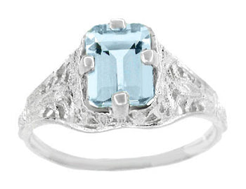 Art Deco Emerald Cut Aquamarine Filigree Engagement Ring in 18 Karat White Gold