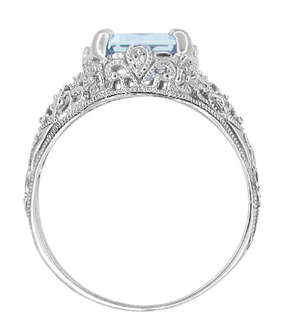 Emerald Cut Aquamarine Filigree Edwardian Engagement Ring in 14 Karat White Gold - Item: R618 - Image: 3