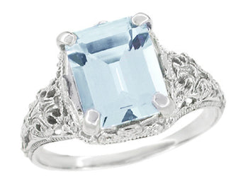 Emerald Cut Aquamarine Filigree Edwardian Engagement Ring in 14 Karat White Gold