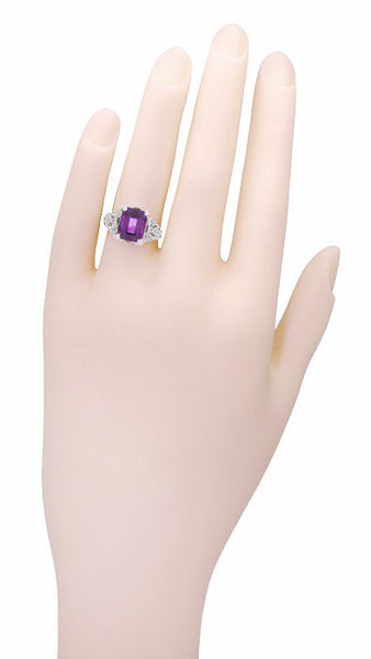 Edwardian Filigree 8x10mm Emerald Cut Amethyst Statement Ring in 14 Karat White Gold - Item: R618AM - Image: 4