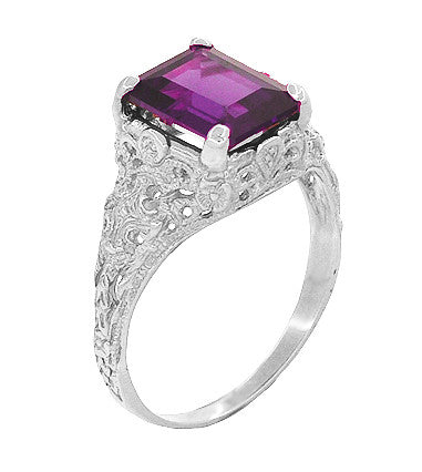 Edwardian Filigree 8x10mm Emerald Cut Amethyst Statement Ring in 14 Karat White Gold - Item: R618AM - Image: 1