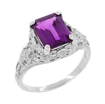 Edwardian Filigree 8x10mm Emerald Cut Amethyst Statement Ring in 14 Karat White Gold