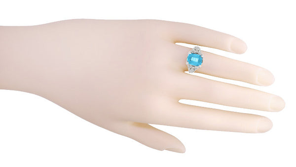 Edwardian Filigree Emerald Cut Swiss Blue Topaz Ring in 14 Karat White Gold - Item: R618BT - Image: 2