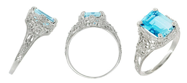 Edwardian Filigree Emerald Cut Swiss Blue Topaz Ring in 14 Karat White Gold - Item: R618BT - Image: 1