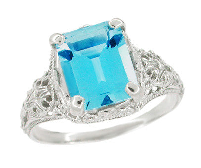 Edwardian Filigree Emerald Cut Swiss Blue Topaz Ring in 14 Karat White Gold