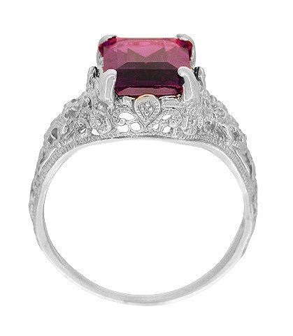 Filigree Emerald Cut Rhodolite Garnet Edwardian Engagement Ring in 14 Karat White Gold - Item: R618G - Image: 2