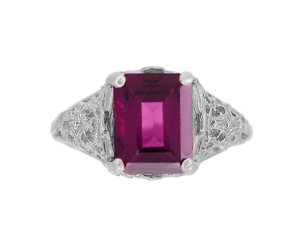 Filigree Emerald Cut Rhodolite Garnet Edwardian Engagement Ring in 14 Karat White Gold - Item: R618G - Image: 3