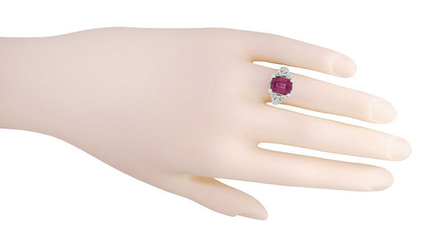 Filigree Emerald Cut Rhodolite Garnet Edwardian Engagement Ring in 14 Karat White Gold - Item: R618G - Image: 4