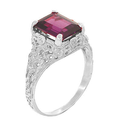 Filigree Emerald Cut Rhodolite Garnet Edwardian Engagement Ring in 14 Karat White Gold - Item: R618G - Image: 1