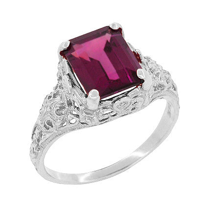 Filigree Emerald Cut Rhodolite Garnet Edwardian Engagement Ring in 14 Karat White Gold