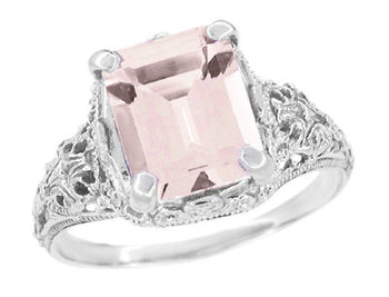 Edwardian Filigree Emerald Cut Morganite Engagement Ring in 14 Karat White Gold