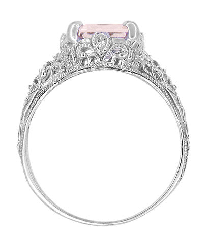 Edwardian Filigree 3 Carat Emerald Cut Morganite Engagement Ring in Platinum - Item: R618PM - Image: 3