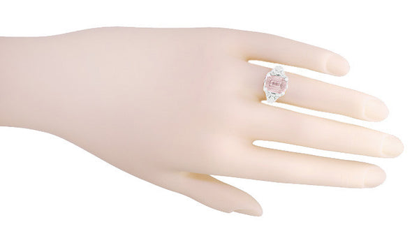 Edwardian Filigree 3 Carat Emerald Cut Morganite Engagement Ring in Platinum - Item: R618PM - Image: 4
