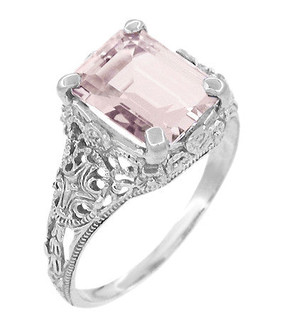 Edwardian Filigree 3 Carat Emerald Cut Morganite Engagement Ring in Platinum - Item: R618PM - Image: 1