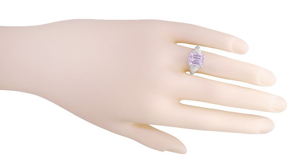 Edwardian Filigree Emerald Cut Rose de France Ring in 14 Karat White Gold - Item: R618RF - Image: 4