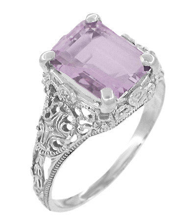 Edwardian Filigree Emerald Cut Rose de France Ring in 14 Karat White Gold - Item: R618RF - Image: 1