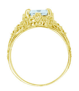 Emerald Cut Aquamarine Edwardian Filigree Engagement Ring in 14 Karat Yellow Gold - Item: R618Y - Image: 3