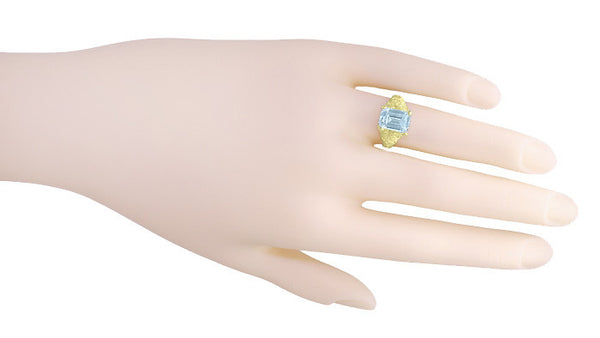 Emerald Cut Aquamarine Edwardian Filigree Engagement Ring in 14 Karat Yellow Gold - Item: R618Y - Image: 4