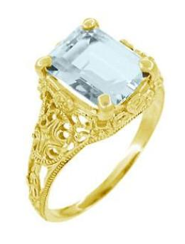 Emerald Cut Aquamarine Edwardian Filigree Engagement Ring in 14 Karat Yellow Gold - Item: R618Y - Image: 1
