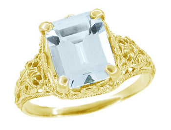 Emerald Cut Aquamarine Edwardian Filigree Engagement Ring in 14 Karat Yellow Gold