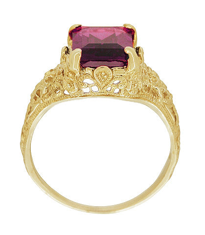 Edwardian Filigree Emerald Cut Rhodolite Garnet Engagement Ring in 14 Karat Yellow Gold - Item: R618YG - Image: 2