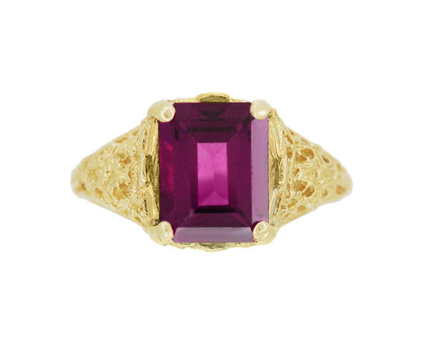 Edwardian Filigree Emerald Cut Rhodolite Garnet Engagement Ring in 14 Karat Yellow Gold - Item: R618YG - Image: 3