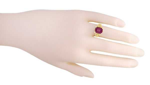 Edwardian Filigree Emerald Cut Rhodolite Garnet Engagement Ring in 14 Karat Yellow Gold - Item: R618YG - Image: 4