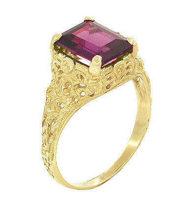 Edwardian Filigree Emerald Cut Rhodolite Garnet Engagement Ring in 14 Karat Yellow Gold - Item: R618YG - Image: 1
